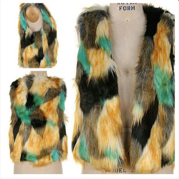 jacket faux fur vest tri color vest