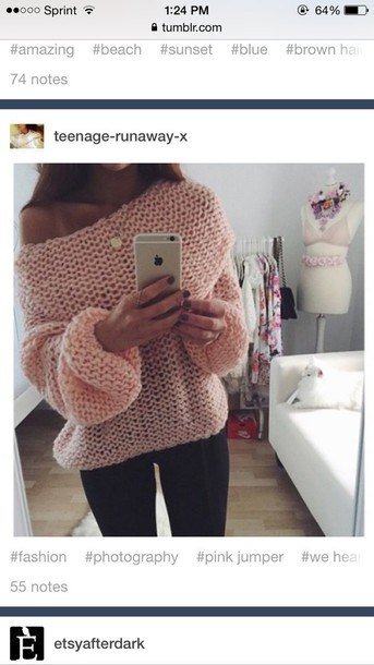 blouse pink knit pale sweater style long sleeves tumblr sweater tumblr outfit