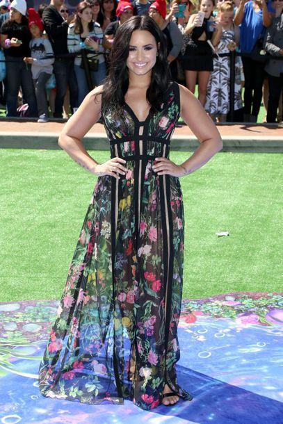 dress, demi lovato, floral, floral dress, maxi dress, gown - Wheretoget