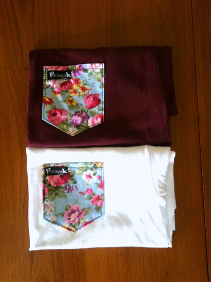 t-shirt floral bordeaux white flowers print blouse