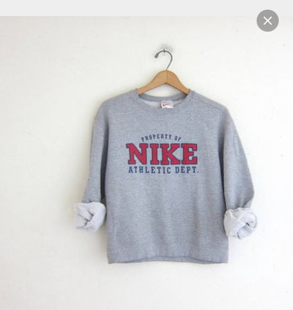 Sweater: sweatshirt, nike, athletic, grey, grey sweater, girl ...