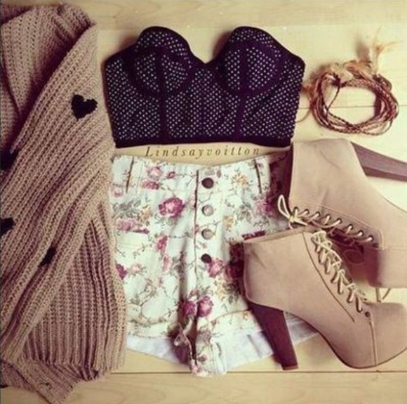 corset top floral high waisted short sweater shoes shorts high heel boots oversized sweater