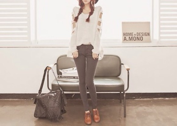 shoes jeans blouse off the shoulder sweater brown boots black jeans boot heels cream shirt knit of the shoulder ulzzang korean hipster cute ulzzang fashion leather boot