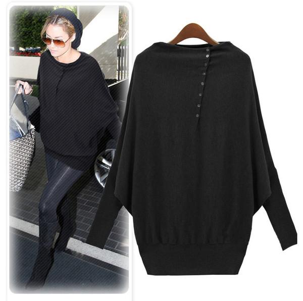 black green buttons women sweater long sleeves pullover winter sweater autumn/winter batwing sleeve cardigan