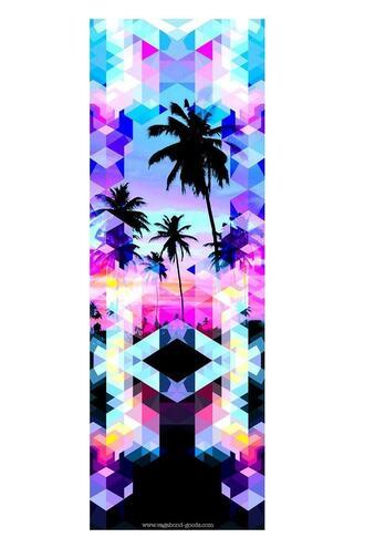 home accessory black blue palm tree print pink print purple vagabond goods yoga mat bikiniluxe
