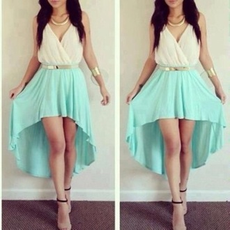 dress white turquoise high-low prom
