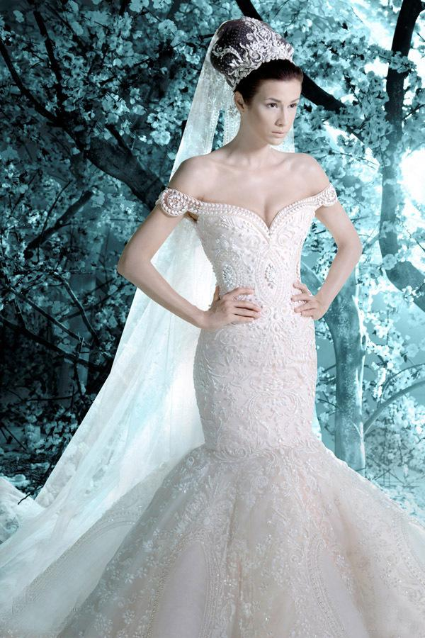 Discount 2014 michael cinco brand wedding in dubai off shoulder mermaid cathedral train pearls beading luxury wedding dress online with $428.4/piece