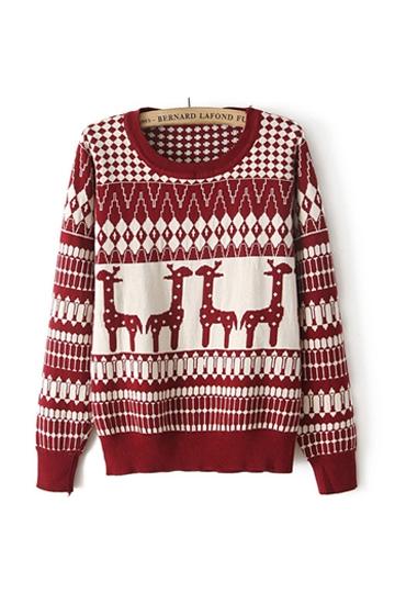 Nordic Animal Print Pattern Sweater [FKBJ10341]- US$24.99 - PersunMall.com