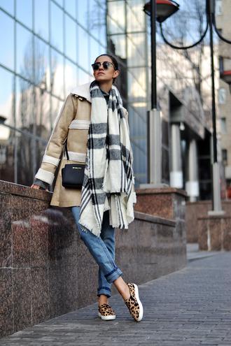 tina sizonova blogger blanket scarf winter coat vans animal print coat scarf bag