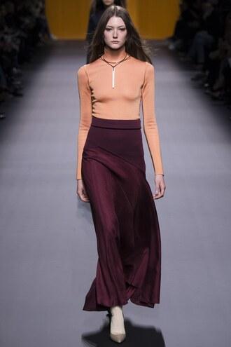top turtleneck necklace skirt maxi dress maxi skirt hermes fashion week 2016 paris fashion week 2016