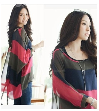 blouse chiffon stripes cotton scoop neck twinset nine-minute sleeves batwing blouse
