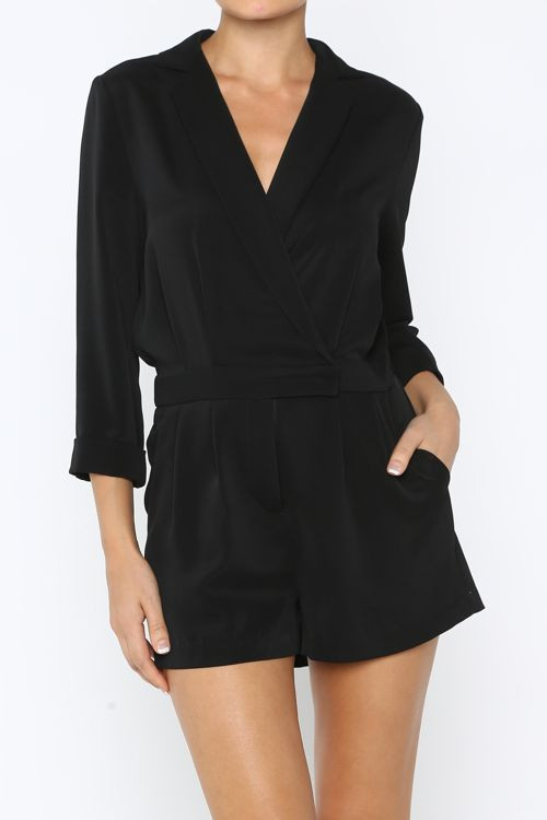 Notched Collar Tuxedo Romper