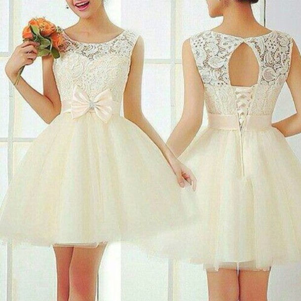 white dress party dress dress girly dress girly spitze swirls party dress up cream vintage lace dress open back dresses prom dress lace white classy bow Vintage Scoop Collar Sleeveless Hollow Out Bowknot Embellished Women's Dress fashion trendy rg