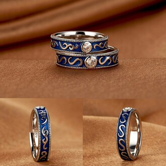 jewels evolees evolees.com platinum plated 925 sterling silver vintage blue couple rings wedding bands vintage blue couple rings silver wedding bands for couple
