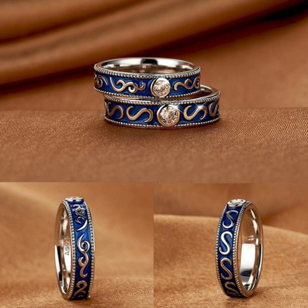 Jewels Evolees Platinum Plated 925 Sterling Silver Vintage Blue Couple Rings Wedding Bands