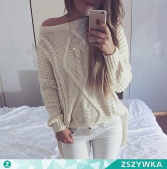 sweater clothes white beige