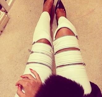 jeans pants zip skinny pants swag cool style zipped pants white pants biker jacket