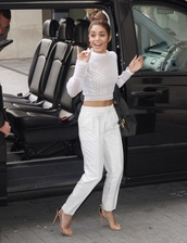 shirt,vanessa hudgens,all white everything,summer outfits,strappy heels,high waisted pants,pants,celebrities in white,straight pants,all white outfit
