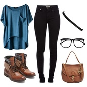 shirt,outfit,cute,comfy,casual,shoes,brown leather boots,hair accessory,pants,zappos,glasses,back to school,blouse,jeans,blue shirt,boots,t-shirt,black jeans,high waisted jeans,blue t-shirt,jacket,gloves,jewels,bag,top,blue,lace purse brown