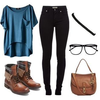 shirt outfit cute comfy casual shoes brown leather boots hair accessory pants zappos glasses back to school blouse jeans blue shirt boots t-shirt black jeans high waisted jeans blue t-shirt jacket gloves jewels bag top blue lace purse brown