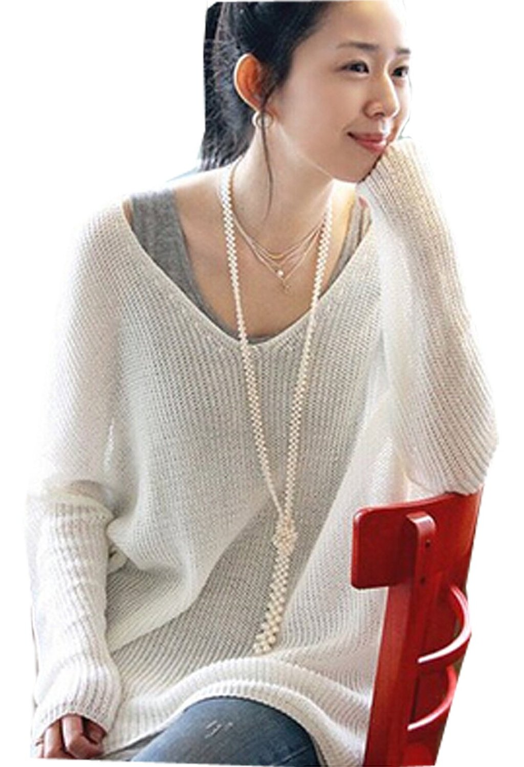 V Neck Long Sleeve Oversize Batwing Knit Sweater Loose Jumper ...