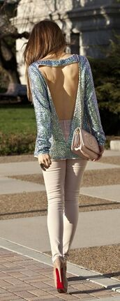 shirt,purple,teal,sequins,cut out top,open back,sequin top,long sleeves,turquoise,sweater