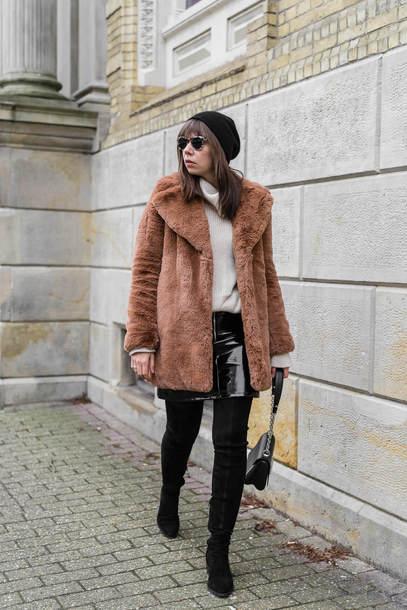 coat tumblr teddy bear coat brown coat beanie sunglasses sweater knit knitwear knitted sweater skirt mini skirt leather skirt