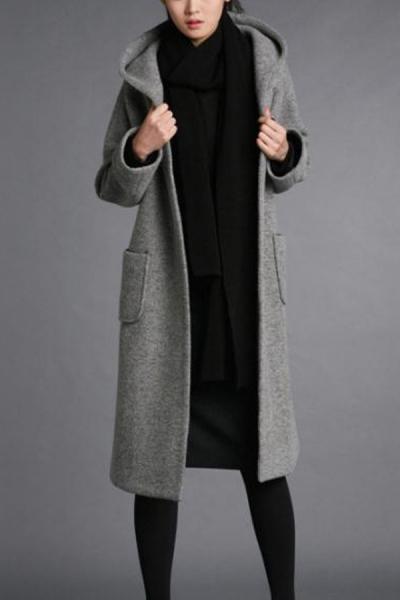 Wool-blend Hooded Coat - OASAP.com