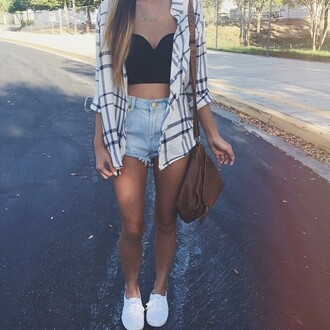 shirt flannel friday love cute outfit flannel shirt tumblr outfit bag shorts cardigan top blouse cream white black blocked striped blouse shirt black white oversized shirt white shirt