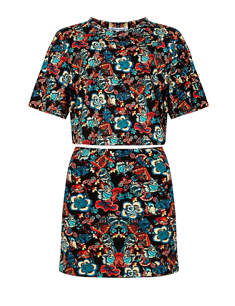 Folklore floral two piece dress set