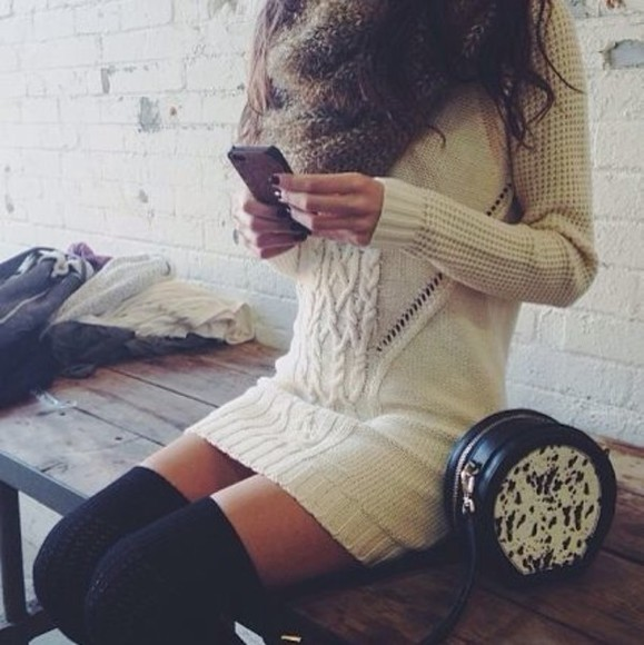 beige sweater winter sweater scarf winter dress sweater dress winter outfits winter clothes beige dress winterwear dress underwear knee high socks