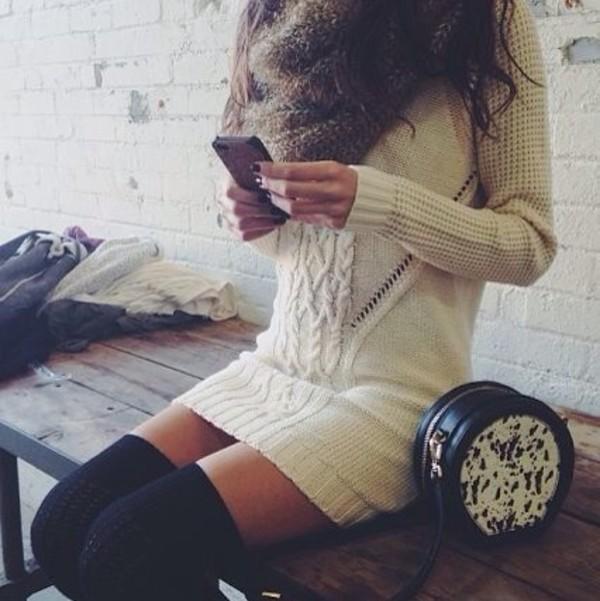 dress scarf underwear knee high socks bag knitted dress winter dress sweater dress winter sweater winter outfits winter outfits beige dress beige sweater winter outfits winter outfits