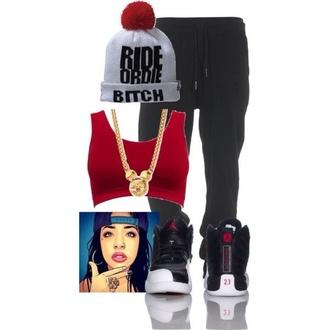 hat beanie grey red dress crop tops pants jewels jordans white ride or die bitch pom pom beanie shirt