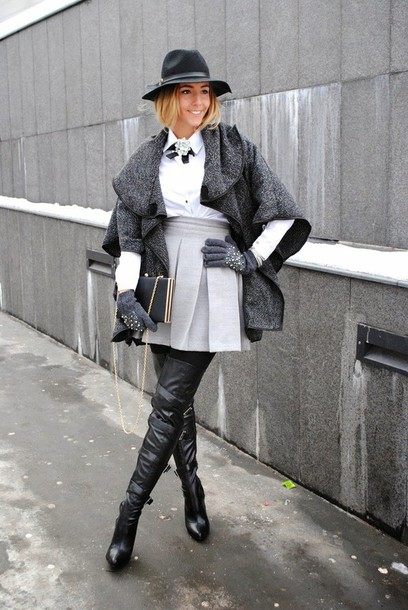 let's talk about fashion ! blogger blouse gloves fedora grey skirt pleated skirt thigh high boots knitted gloves mini skirt pleated opaque tights tight cape over the knee boots boots black boots