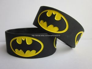 "1pc Super Heros Batman 1"" Promotion Gift Silicone Wristband Bracelet Band Black 