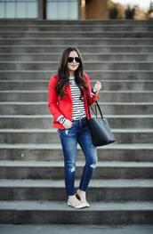 dress corilynn,blogger,jacket,shirt,jeans,sunglasses,jewels,bag,shoes,blazer,red jacket,handbag,striped sweater,ballet flats