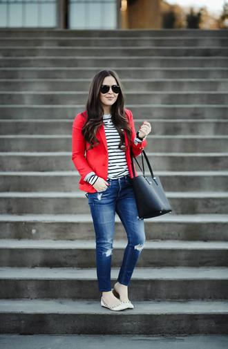 dress corilynn blogger jacket shirt jeans sunglasses jewels bag shoes blazer red jacket handbag striped sweater ballet flats