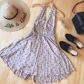 dress,polka dots,fashion,pink,cute,trendy,vintage,style,styles,ootd,happiness,summer,spring,2017,low cut,front,cut-out,open back,bellexo