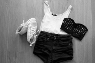 shorts black tank top underwear studs bandeau white cotton outfit shoes top denim