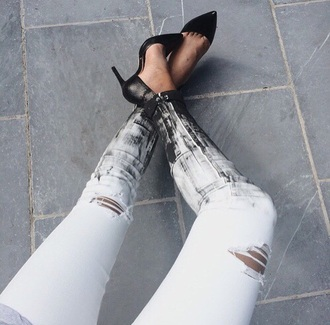 jeans white jeans worn-out displaced knees black jeans home accessory shoes