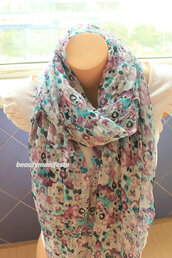 scarf,women,shawl,floral scarf,floral cowl scarf,soft chiffon scarf,scarve scarf,gift ideas,best selling item,long cowl scarf,mothers day gifts,fashion accessory,accessories