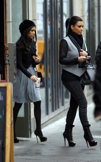 jacket kim kardashian vest jacket boots leggings