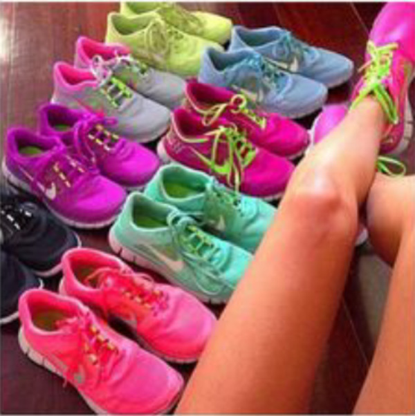 shoes nike nice nike free run colorful
