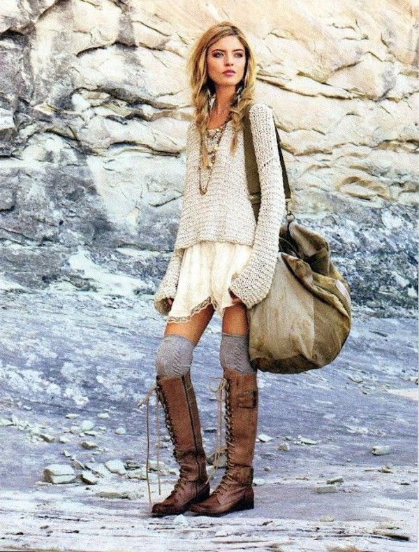 shoes leather boots boots boho boho chic knee high socks knee high boots sweater fall outfits winter outfits winter boots sweater weather lace up boots combat boots casual top jewels bag skirt socks