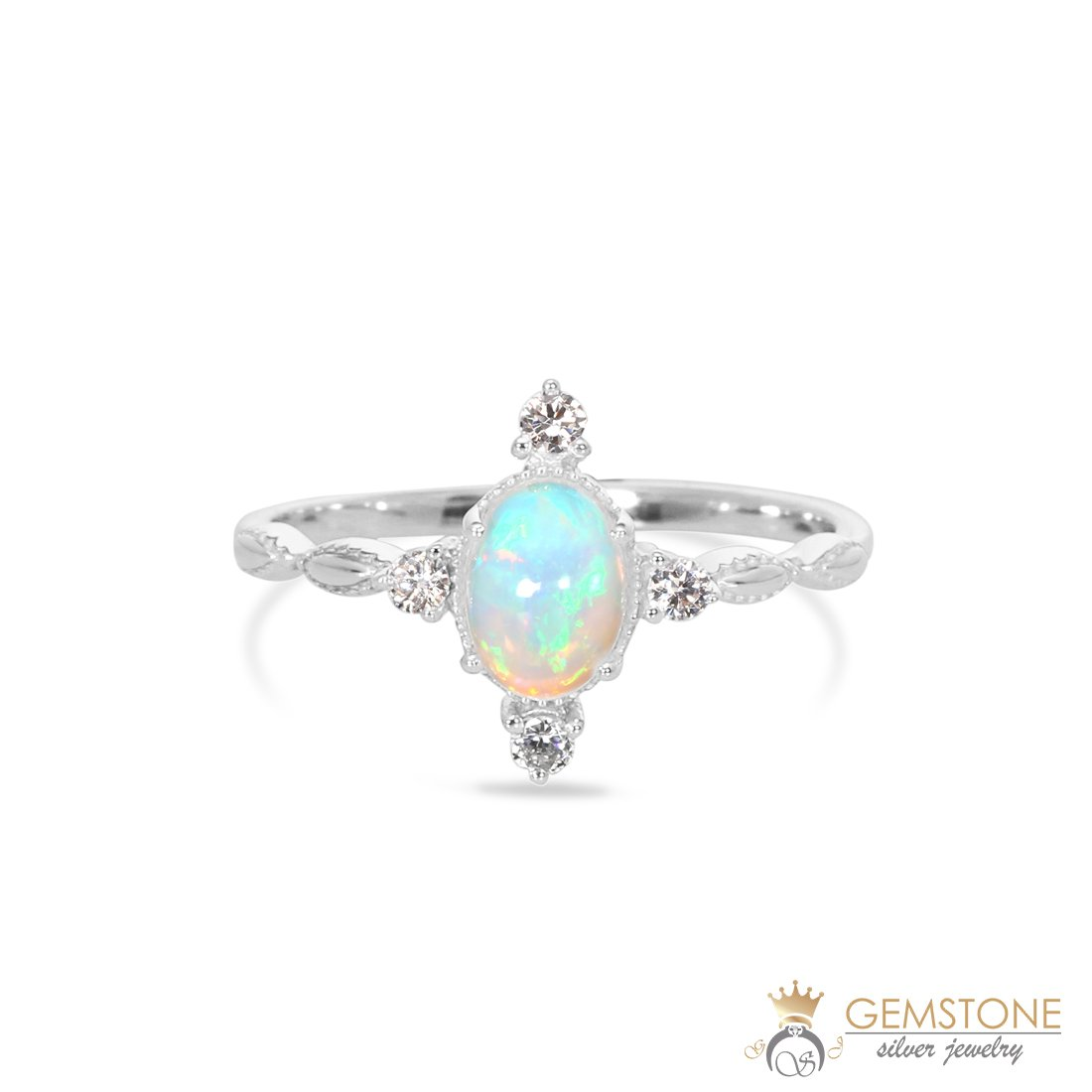 925 STERLING SILVER Opal Ring-Brilliance