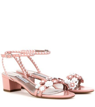 embellished sandals leather sandals leather pink shoes