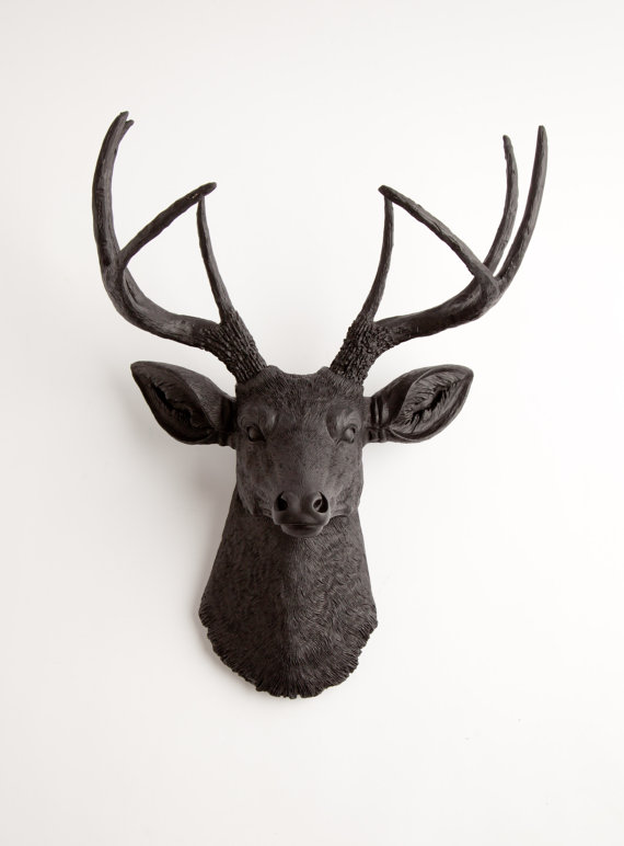 Faux Deer Head in Black - The Ignatius - Resin Deer Head Wall Mount- Faux Taxidermy Stag Resin Black Faux Taxidermy - Modern Home Decor