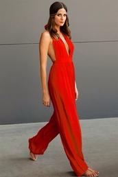 pants,red jumpsuit open back,jumpsuit
