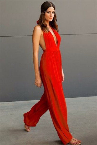 pants red jumpsuit open back jumpsuit