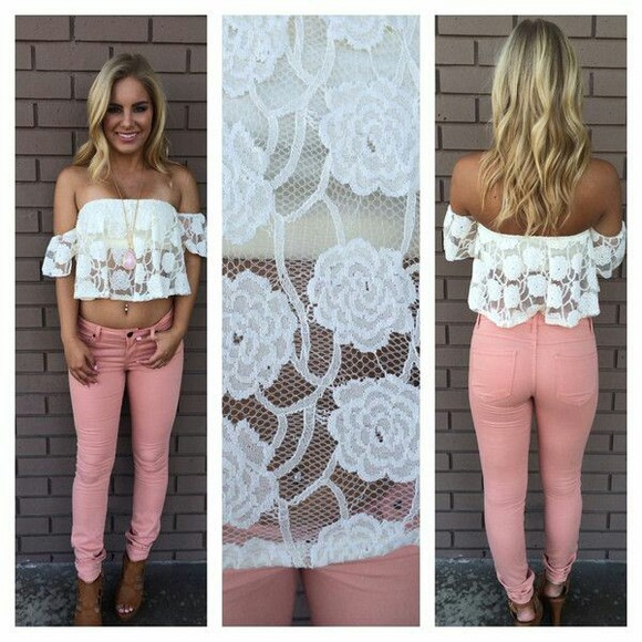 strapless flowers lace shirt jeans
